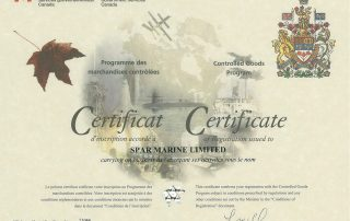 Spar Marine Controlled Goods Certificate 2014-2019